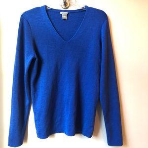 Ann Taylor Blue V-Neck Wool Blend Sweater Size L
